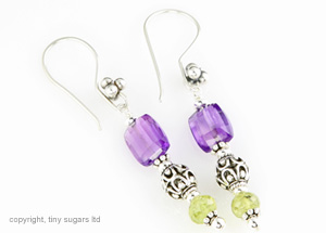 medici amethyst and grossular garnet earrings